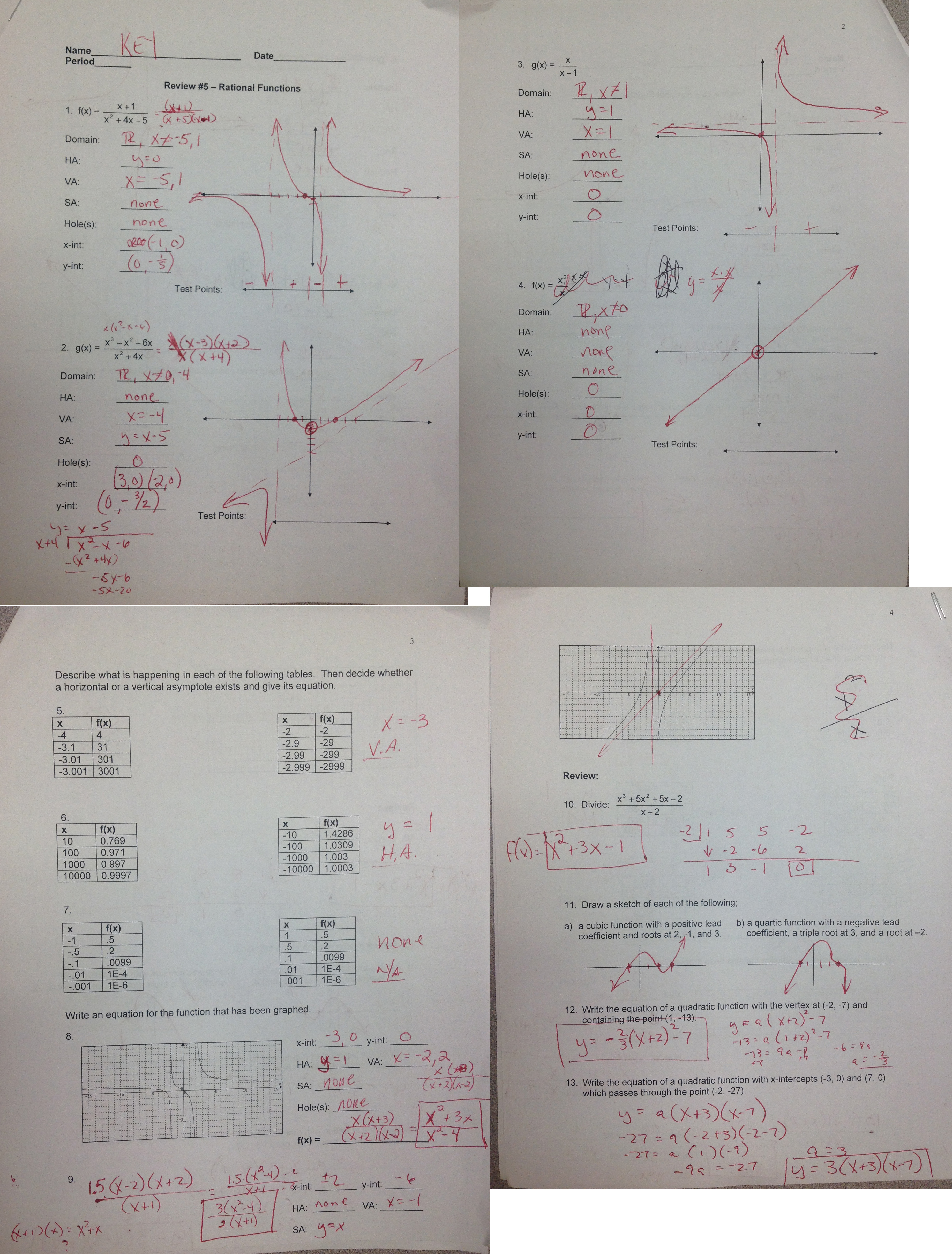 graphing exponential functions worksheet answer key parent functions ...